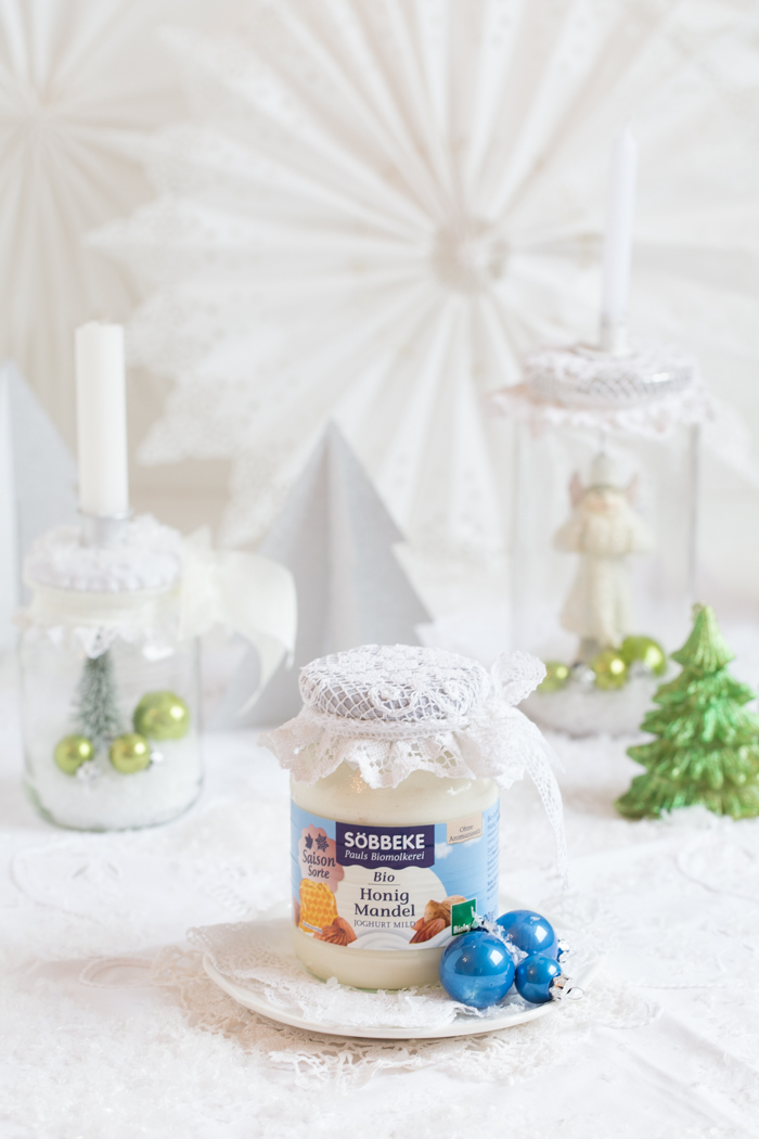 Honig Mandel Joghurt Parfait mit gebrannten Mandeln