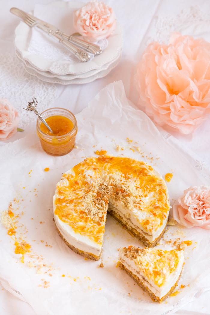 Käsekuchen auf Schokoladen-Knusperboden & Mandarinen-Gelee