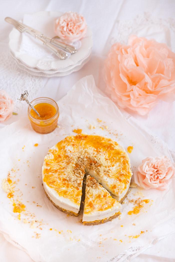 Käsekuchen auf Schokoladen-Knusperboden & Mandarinenmarmelade