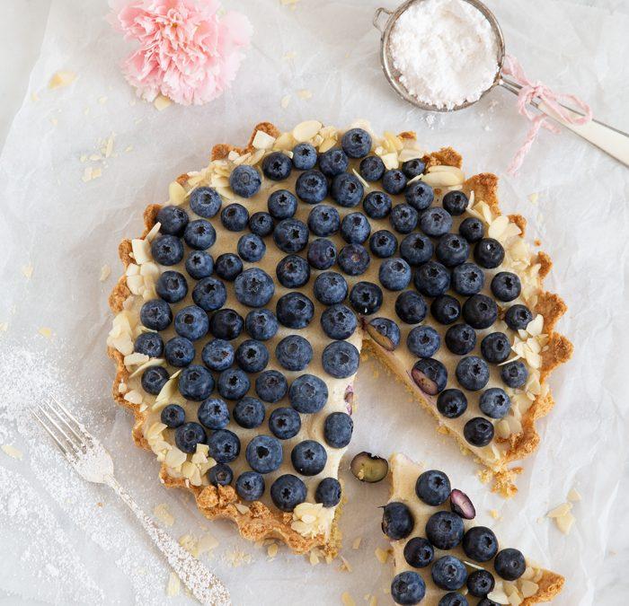 Grießbrei-Tarte mit Blaubeeren