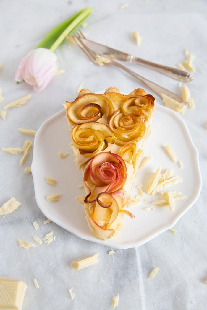 Apfelrosentarte mit Käsekuchenfüllung und Vivani Schokolade